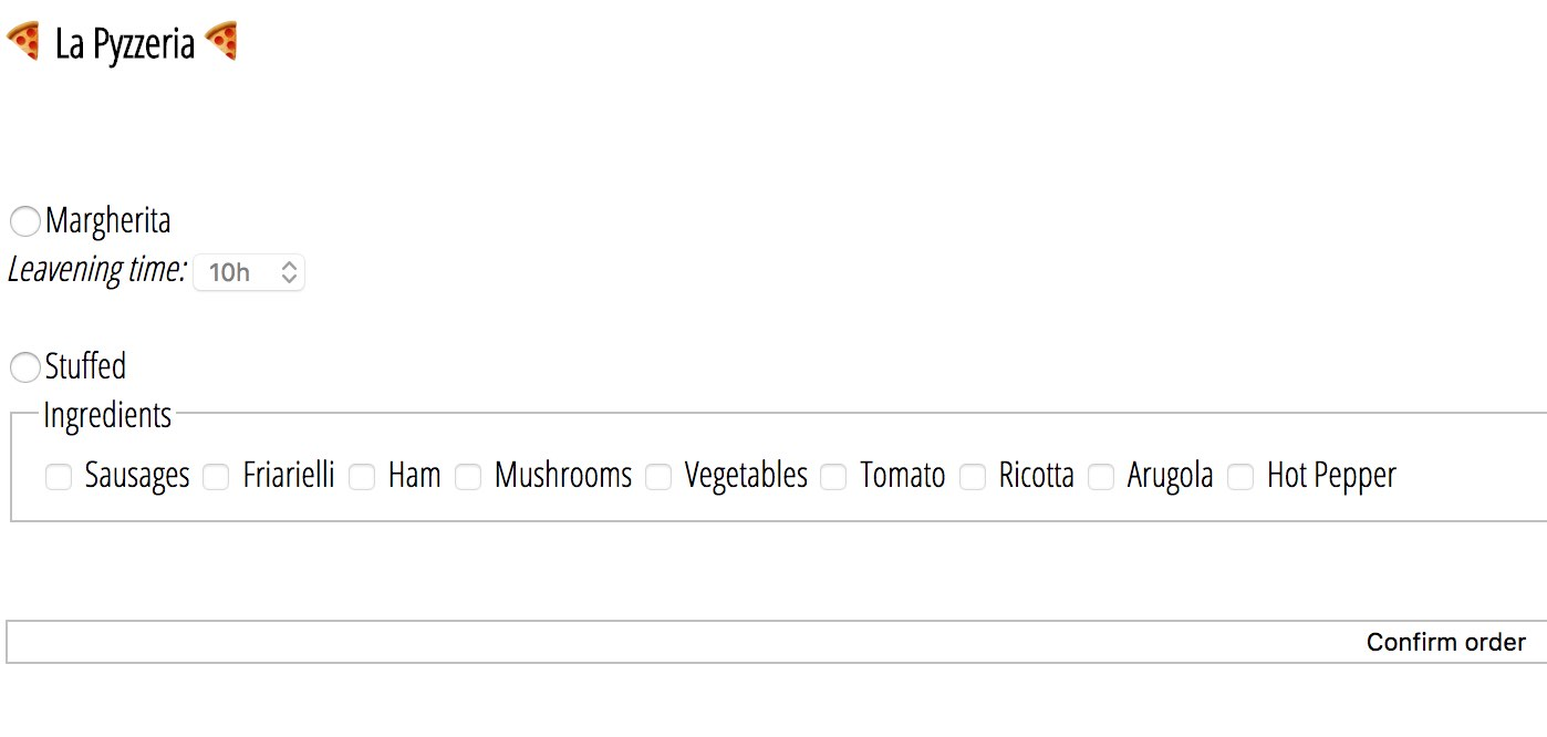 Pizza order page